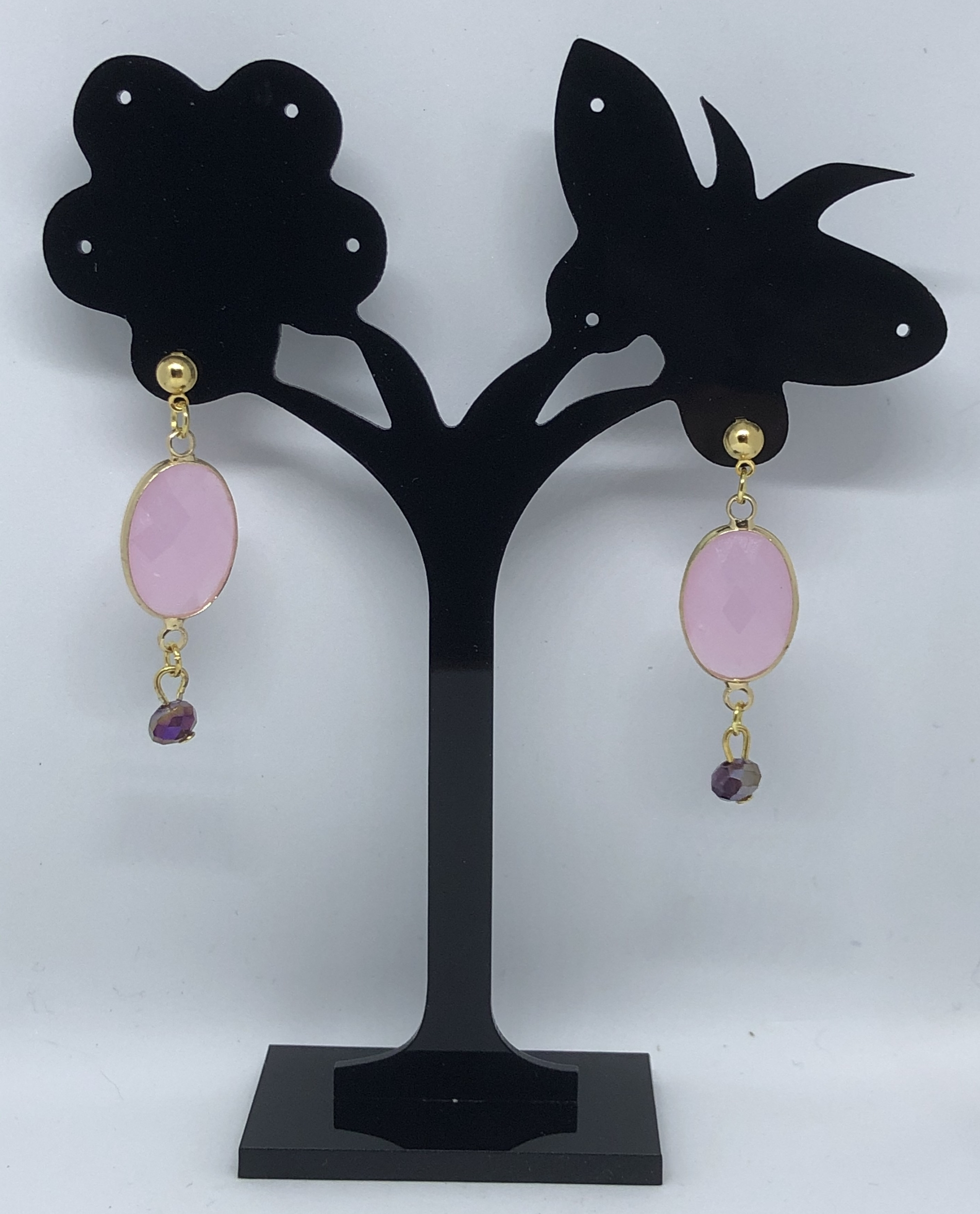 Boucles d\'oreilles quartz rose perle facetée puces - Angel shop