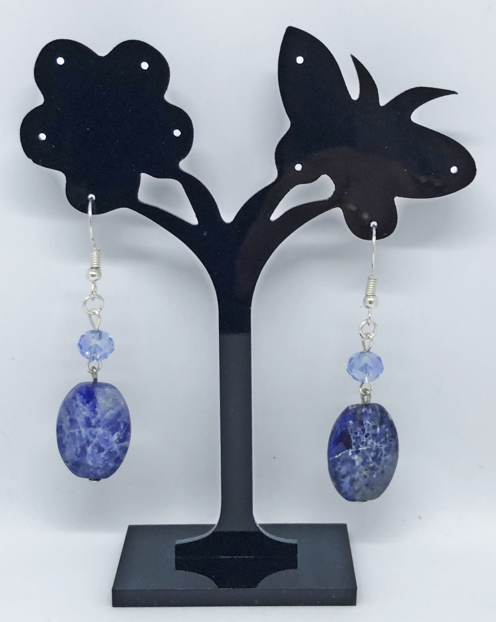 Boucles d\'oreilles sodalite perle crochets - Angel shop