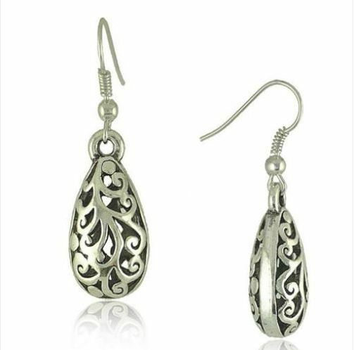 Boucles d\'oreilles COLLEEN argent tibétain sculpté crochets - Angel shop