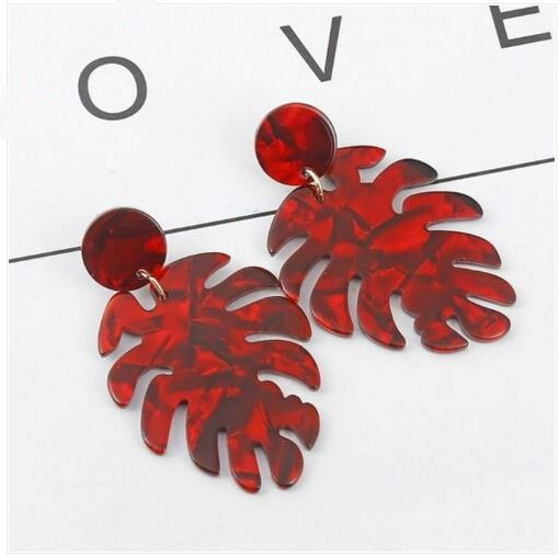 Boucles d\'oreilles monstera résine rouge puces  - Angel shop