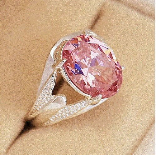 Bague saphir rose ovale argent 925 - Angel shop