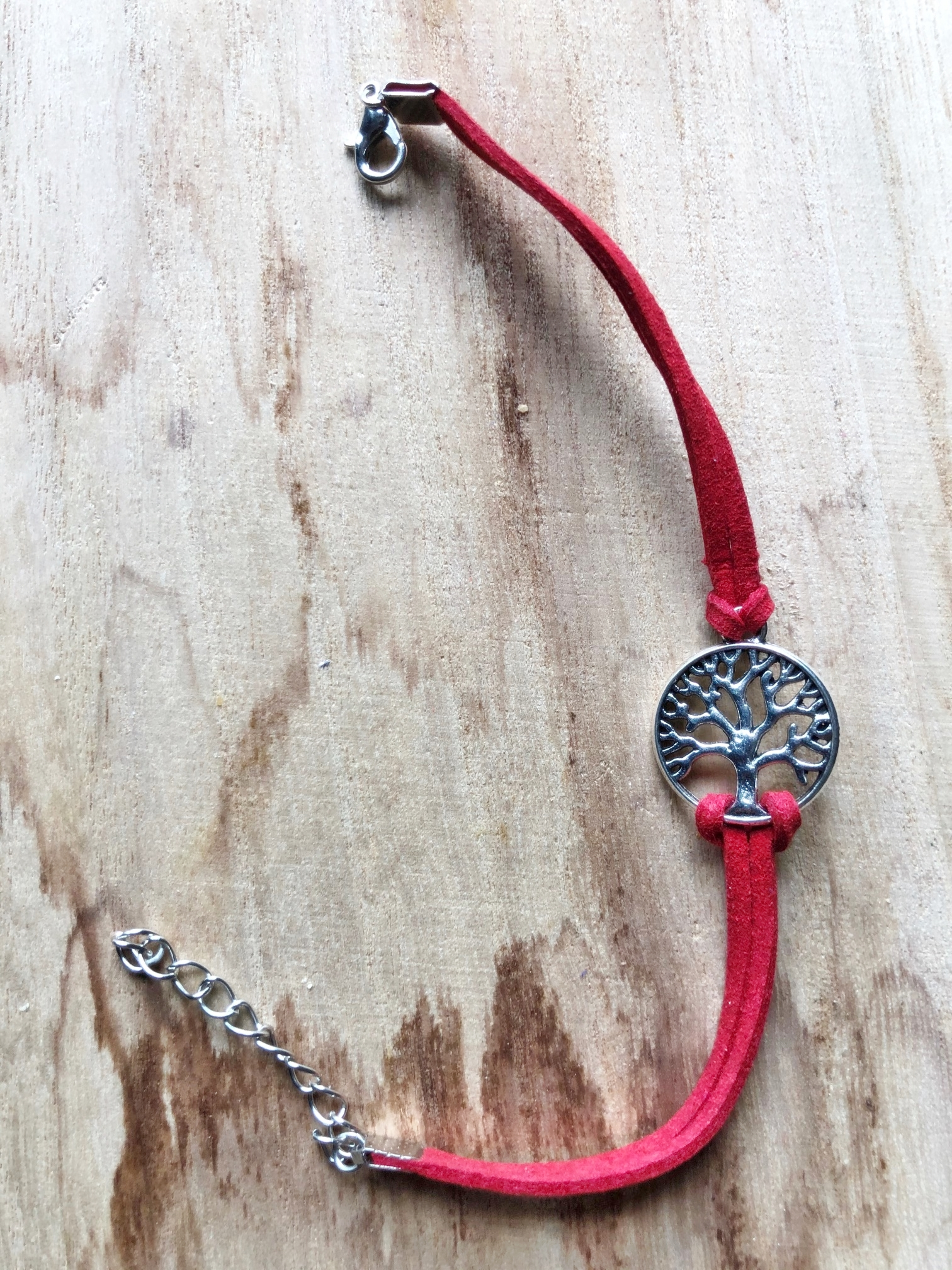 Bracelet ARBRE DE VIE cuir rouge - Angel shop