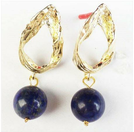 Boucles d\'oreilles LAPIS LAZULI ballon clous plaqué or  - Angel shop