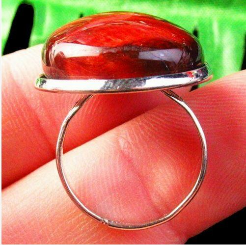 Bague ajustable oeil du tigre rouge forme ronde - Angel shop