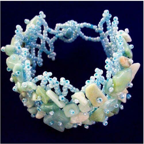 Bracelet amazonite et perles modele dentelle - Angel shop