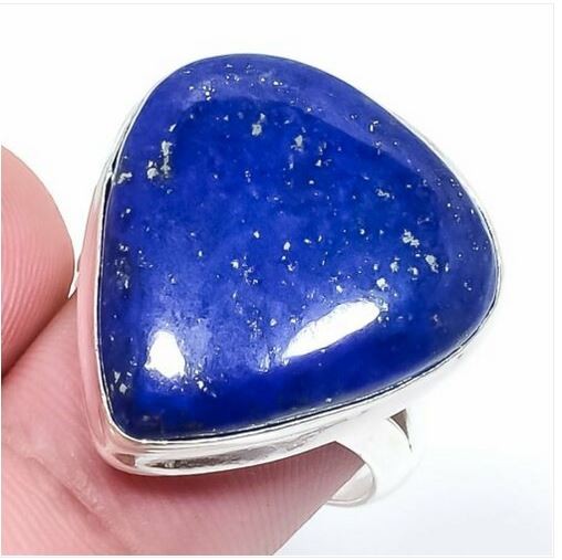 Bague lapis lazuli forme triange monture argent 925 - Angel shop