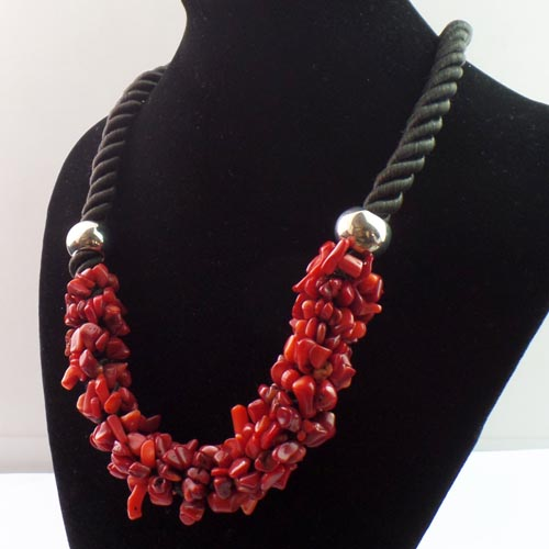 Collier XXL corail rouge  - Angel shop