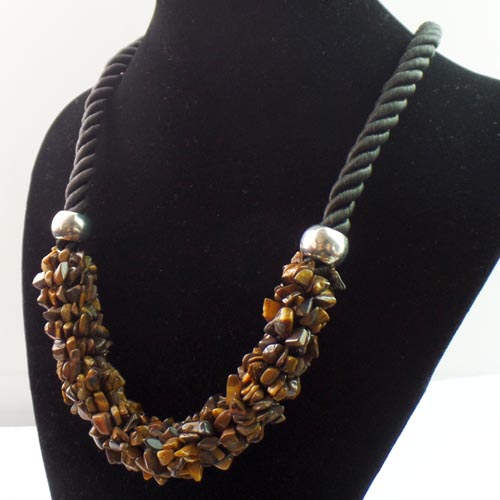 Collier XXL oeil du tigre - Angel shop