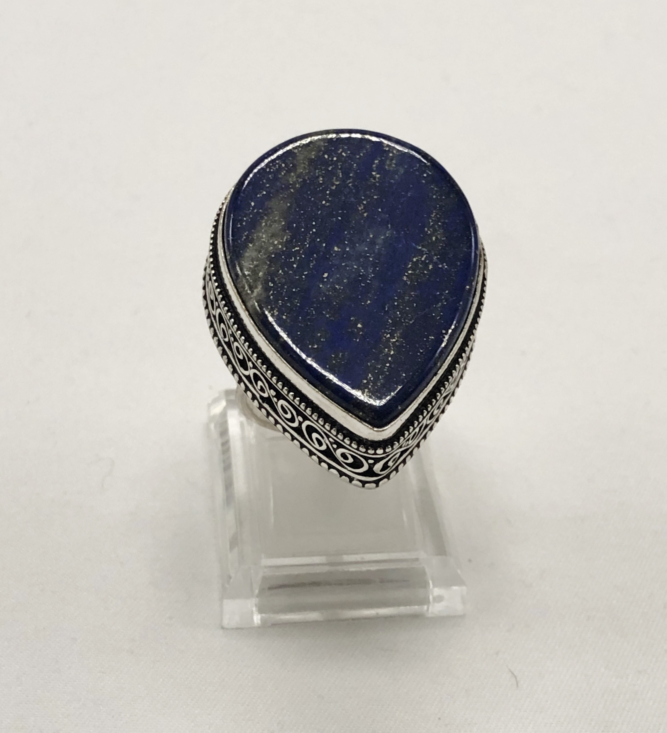 Bague lapis lazuli forme goutte montage antique argent 925 - Angel shop