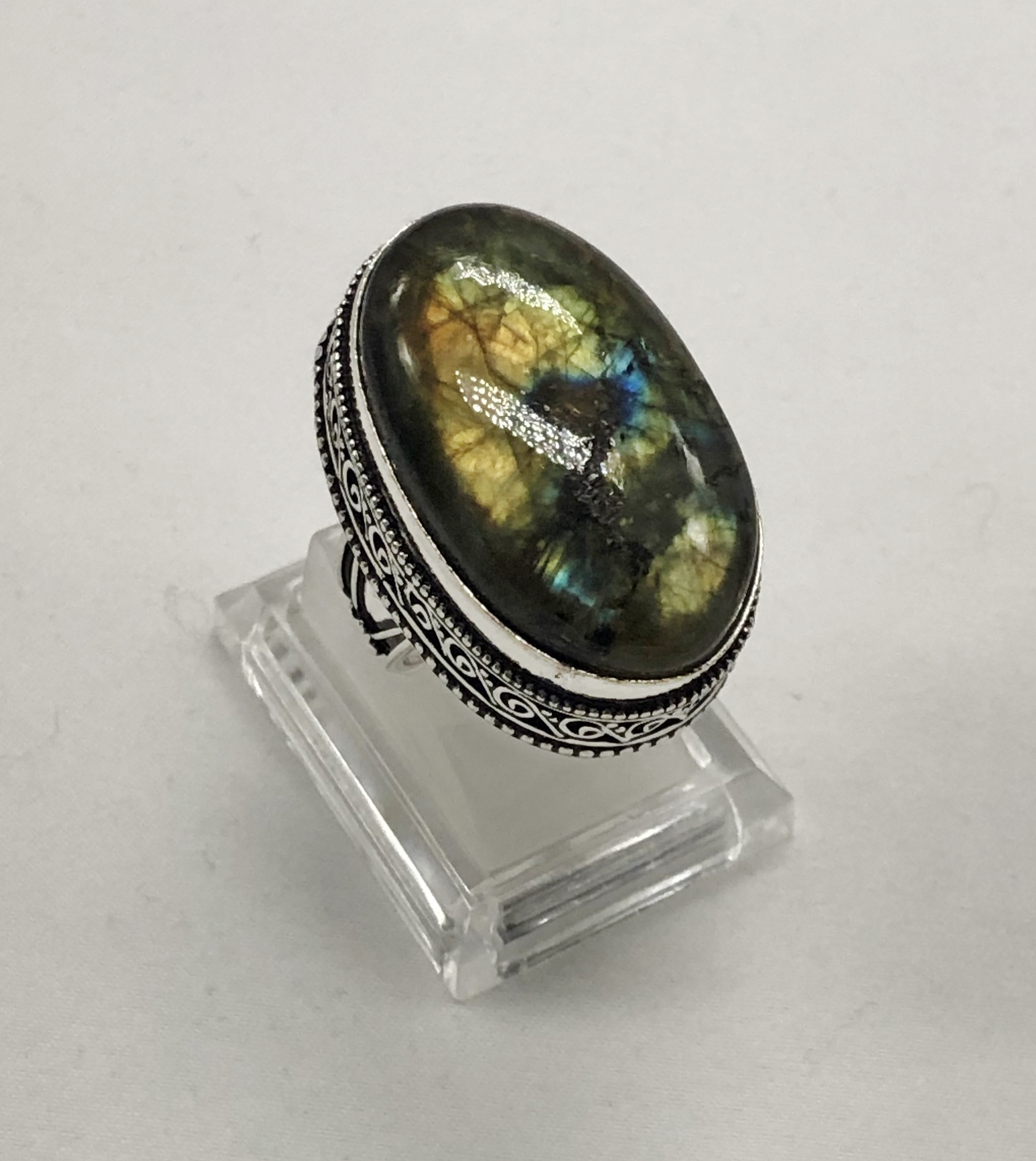 Bague labradorite ovale montage antique argent 925 - Angel shop
