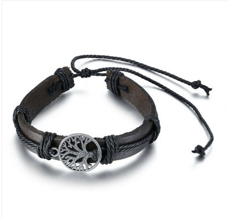HOMME Bracelet arbre de vie cuir marron reglable - Angel shop