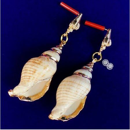 Boucles d\'oreilles coquillages plaqué or - Angel shop