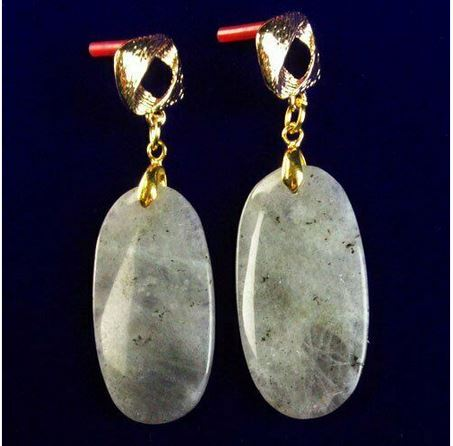 Boucles d\'oreilles labradorite clous plaqué or  - Angel shop