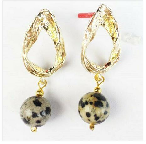 Boucles d\'oreilles JASPE DALMATIEN  ballon clous plaqué or  - Angel shop