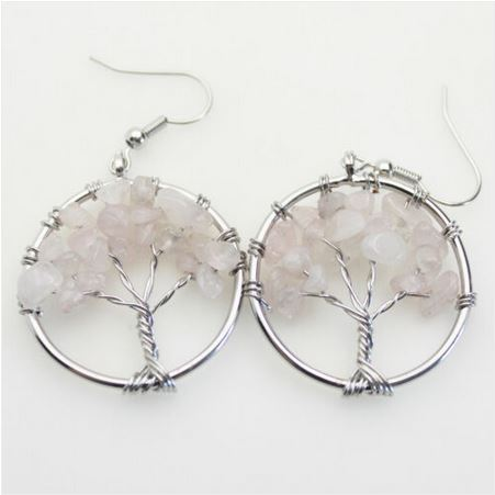 Boucles d\'oreilles arbre de vie quartz rose crochets - Angel shop