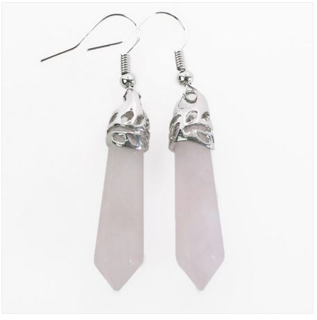 Boucles d\'oreilles QUARTZ ROSE hexagonale argent tibétain sculpté crochets - Angel shop