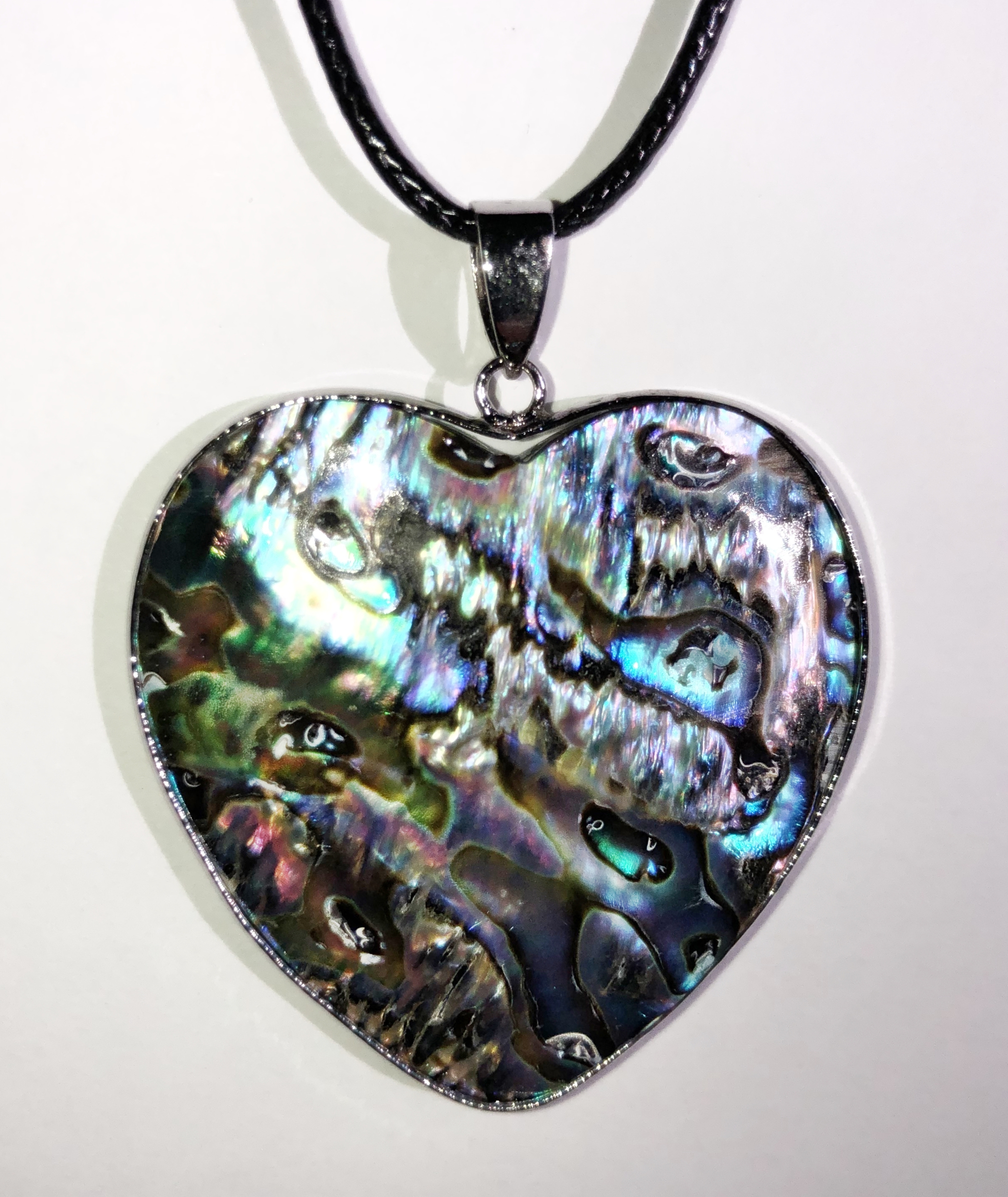 Collier coeur nacre abalone cerclé  - Angel shop