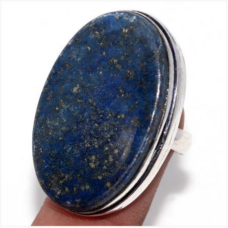 Bague ovale lapis lazuli argent 925 bords lisses - Angel shop