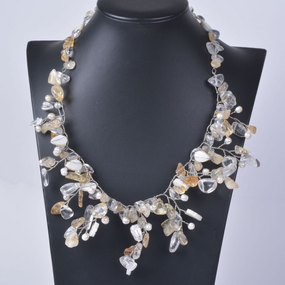 Collier fleurs quartz shell - Angel shop
