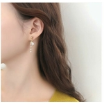 Boucles doreilles perles blanches strass Anne-Marie puces - Angel shop 3