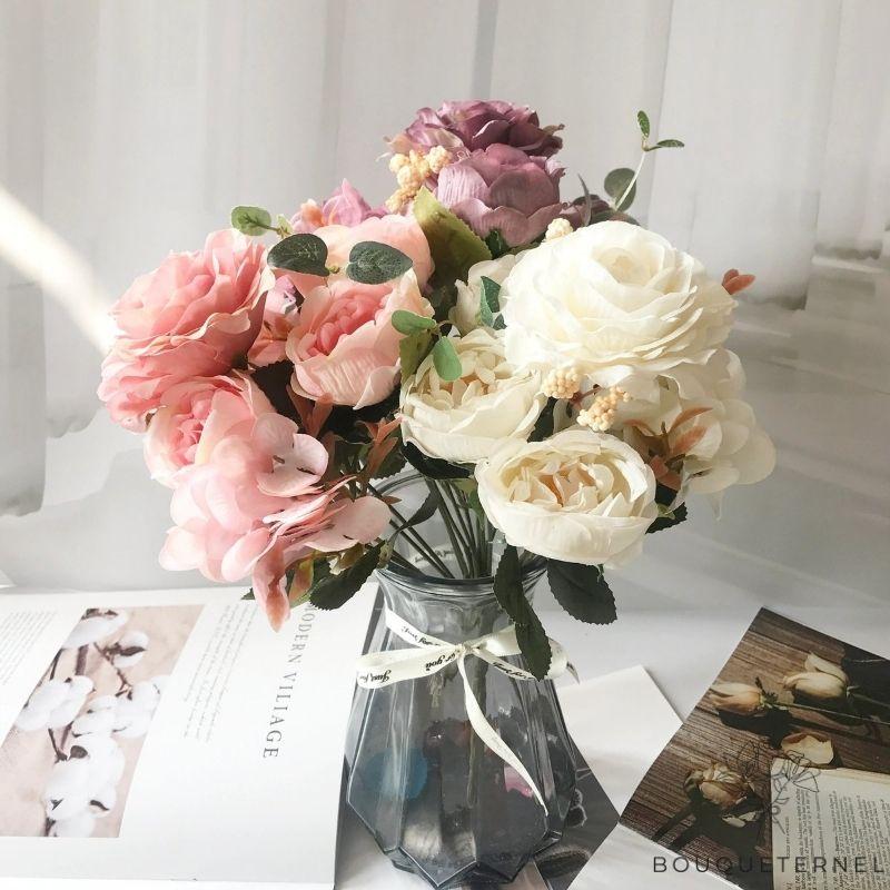 Décoration Table Ronde Mariage | Bouquet Artificiel | Roses Artificielles | Bouqueternel