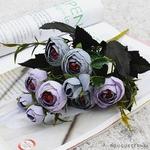 Bouquet de Fleurs Artificielles pour Tombe Bleu Gris | Bouquet Artificiel | Bouqueternel
