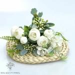 Composition Florale Artificielle Centre de Table Blanc | Fleurs Artificielles | Renoncules Artificielles | Bouqueternel