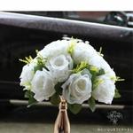 Composition Florale Centre de Table Mariage Blanche | Fleurs Artificielles | Roses Artificielles | Bouqueternel