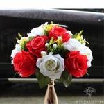 Composition Florale Centre de Table Mariage Blanche Rouge | Fleurs Artificielles | Roses Artificielles | Bouqueternel
