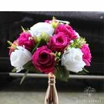 Composition Florale Centre de Table Mariage Blanche et Rose | Fleurs Artificielles | Roses Artificielles | Bouqueternel