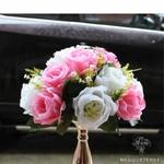 Composition Florale Centre de Table Mariage Blanche et Rose Pâle | Fleurs Artificielles | Roses Artificielles | Bouqueternel