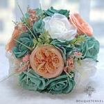 Bouquet de la Mariée Artificiel Turquoise Rose et Blanche | Fleurs Artificielles | Renoncules Artificielles | Bouqueternel