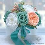 Bouquet Mariée Artificiel Turquoise | Fleurs Artificielles | Renoncules Artificielles | Bouqueternel