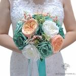 Bouquet de Mariée Artificiel Turquoise | Fleurs Artificielles | Renoncules Artificielles | Bouqueternel