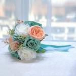 Bouquet Mariée Artificiel Turquoise avec Ruban et Dentelle | Fleurs Artificielles | Renoncules Artificielles | Bouqueternel