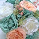 Bouquet Mariée Artificiel Turquoise Rose et Blanche | Fleurs Artificielles | Renoncules Artificielles | Bouqueternel