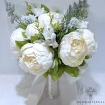 Bouquet Mariée Pivoine Champêtre Blanches | Fleurs Artificielles | Pivoines Artificielles | Bouqueternel