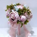 Bouquet Mariée Pivoine Champêtre Violettes Pâles | Fleurs Artificielles | Pivoines Artificielles | Bouqueternel
