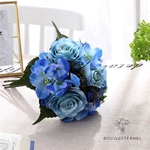 Bouquet de Mariée Artificiel Pas Cher Bleu | Fleurs Artificielles | Renoncules Artificielles | Bouqueternel