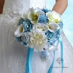 Bouquet Artificiel de Mariée Bleu   Fleurs Artificielles   Renoncules Artificielles   Bouqueternel