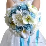 Bouquet Bleu de Mariée Artificiel   Fleurs Artificielles   Renoncules Artificielles   Bouqueternel