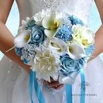 Bouquet de la Mariée Artificiel Bleu   Fleurs Artificielles   Renoncules Artificielles   Bouqueternel