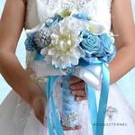 Bouquet de Mariée Artificiel Bleu   Fleurs Artificielles   Renoncules Artificielles   Bouqueternel
