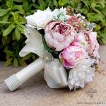 Bouquet de la Mariée composé de Pivoine Rose et Blanc   Bouquet Artificiel   Pivoines Artificielles   Bouqueternel