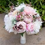Bouquet de la Mariée de Pivoine Rose et Blanc   Bouquet Artificiel   Pivoines Artificielles   Bouqueternel