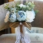 Bouquet de Mariée Pivoine Vintage Bleues | Bouquet Artificiel | Pivoines Artificielles | Bouqueternel