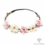 Couronne de Fleurs pour Mariage Rose Pâle et Blanc Cassé Bouqueternel