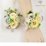 Bracelet de Fleurs Artificielles pour Mariage assortit avec la Boutonnière | Fleurs Artificielle Mariage | Bouqueternel