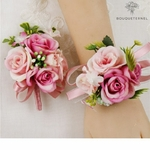 Bracelet de Fleurs Artificielles pour Mariage avec Boutonnière | Fleurs Artificielle Mariage | Bouqueternel