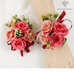 Bracelet de Fleurs Artificielles pour Mariage avec Boutonnière dame dhonneur | Fleurs Artificielle Mariage | Bouqueternel